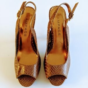 Rampage Caty Slingback Brown Reptile pumps…